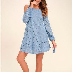 Dresses & Skirts - Blue Cold Shoulder Lace Dress W/ Tassels